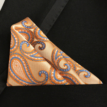 QXY mens fashion pocket square men tie handkerchief personality paisley polyester silk scarf F032