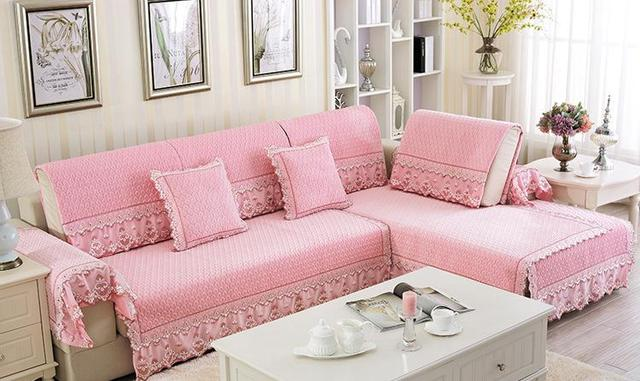 New Sofa Covers New Style Simple Pure Cotton Fabric Lace