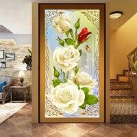 5d Diy Diamond Painting Cross Stitch White Roses Diamond Embroidery Flower Serie Vertical Print Rubik S