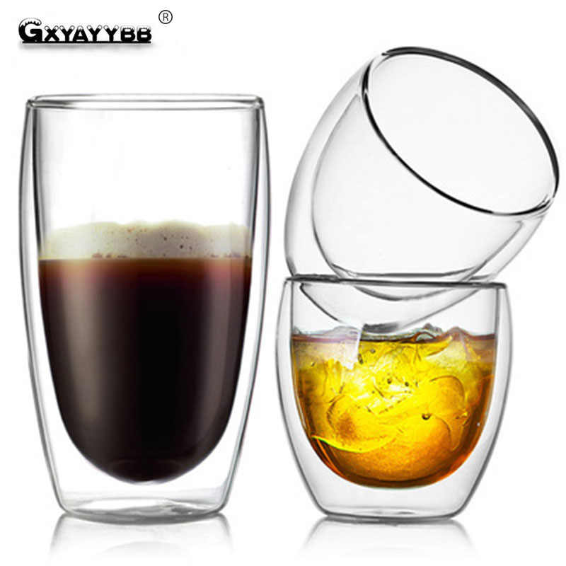 GXYAYYBB 80 ミリリットル/150 ミリリットル/250 ミリリットル/350 ミリリットル/450 ミリリットルガラスカップ二層高ホウケイ酸ガラスコーヒーマグカップ耐熱抗火傷