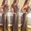 Stylish Lady Women's Fashion Casual Halter Off-shoulder Backless Sexy Solid Long Jumpsuit Romper