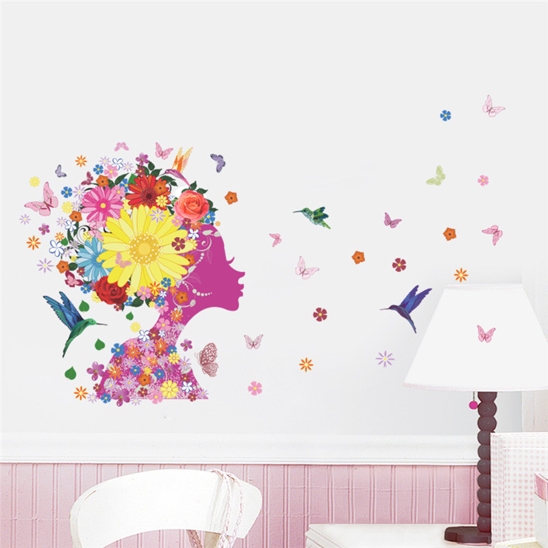 Angel Girl Butterfly Flowers Birds Art Decal Wall Stickers For