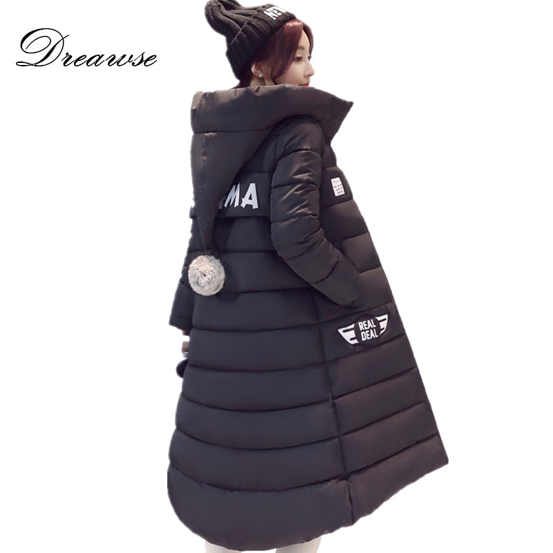 Dreawse Winter Jackets Women Slim Warm Wadded Jacket Long Sleeve Hooded Cotton-Padded Plus Size M-3XL Coat Female   Parkas   MZ759