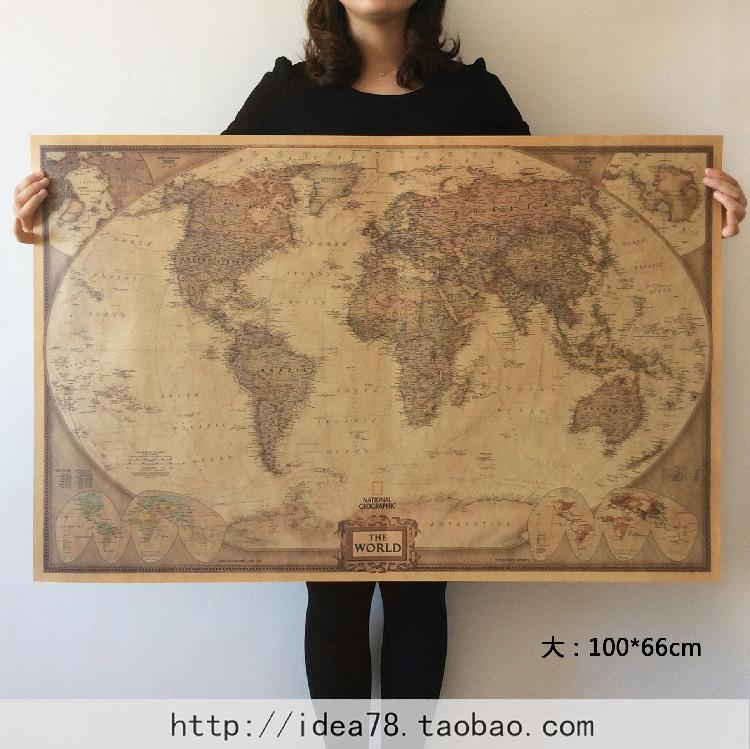 World map kraft paper paint vintage wall sticker poster living room long section vintage world map bar cafe home decoration detailed antique poster wall chart retro paper gumiabroncs Images