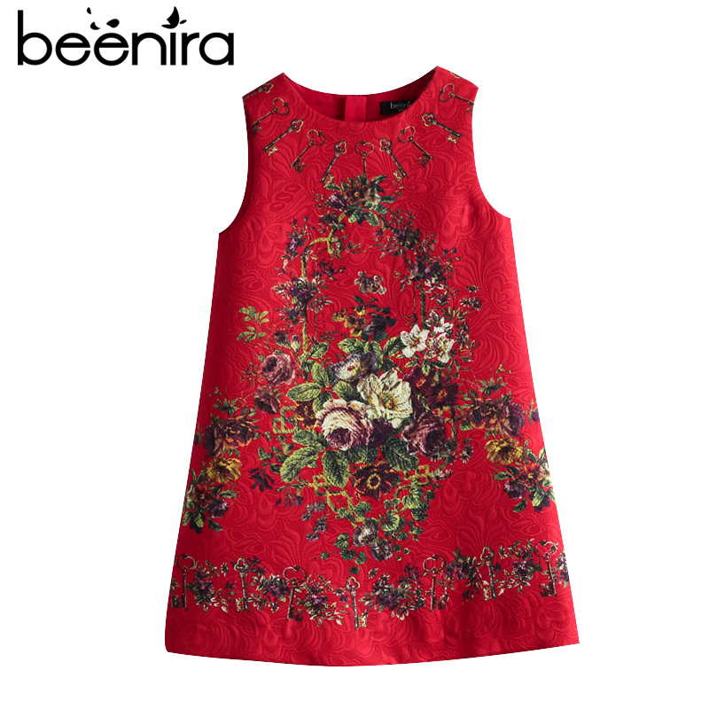 Beenira Girls Red Dresses 2017 New European And American Style Kids Sleeveless Flore Printed Party Dress Children Clothes Dress 100% real photo brand kids red heart sleeve dress american and european style hollow girls clothes baby girl clothes