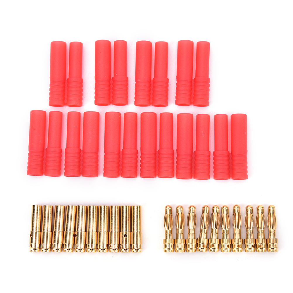 TOP QUALITY 4mm HXT Banana Plugs With Red Housing For RC Connector Socket AM-1009C Gold Plated Banana Plug  10 Sets