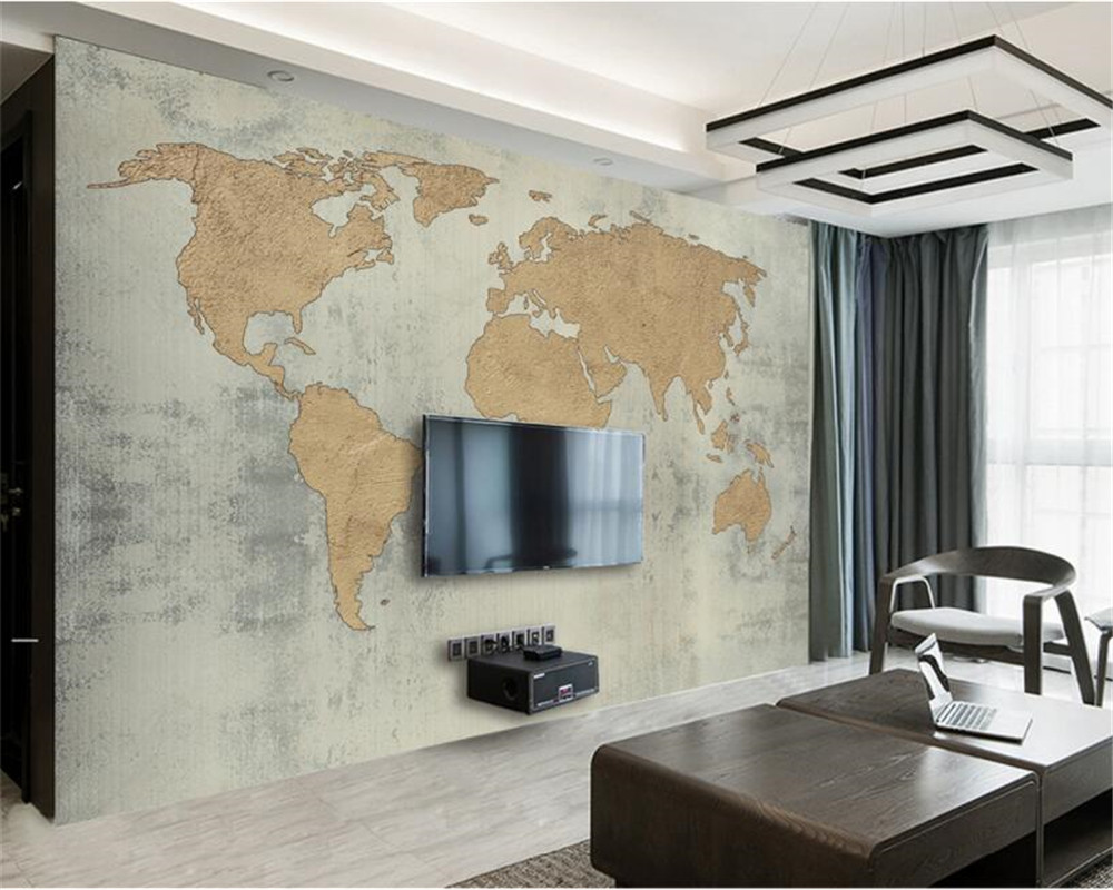 Beibehang Papel Parede Custom Photo Wallpaper Mural Antique Cement Wall Retro World Map Background Wall Wallpaper For Walls 3 D