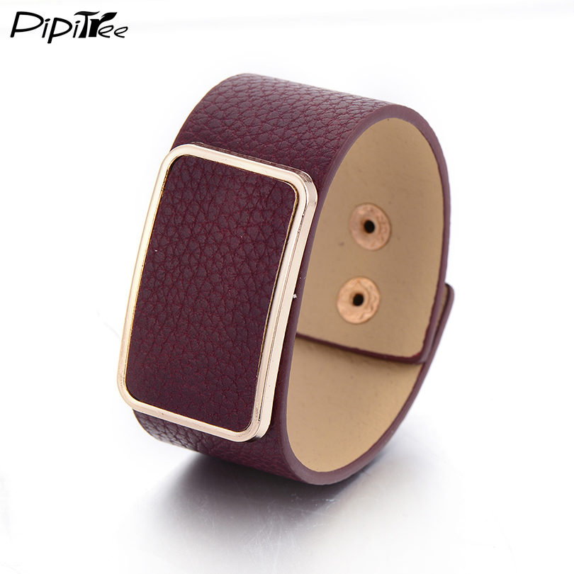 Trend Mark Pipitree All-match Fashion Square Buckle Pu Leather Bracelet For Women Men Cuff Bracelets & Bangles Jewelry Wristband Pulseira Fine Craftsmanship