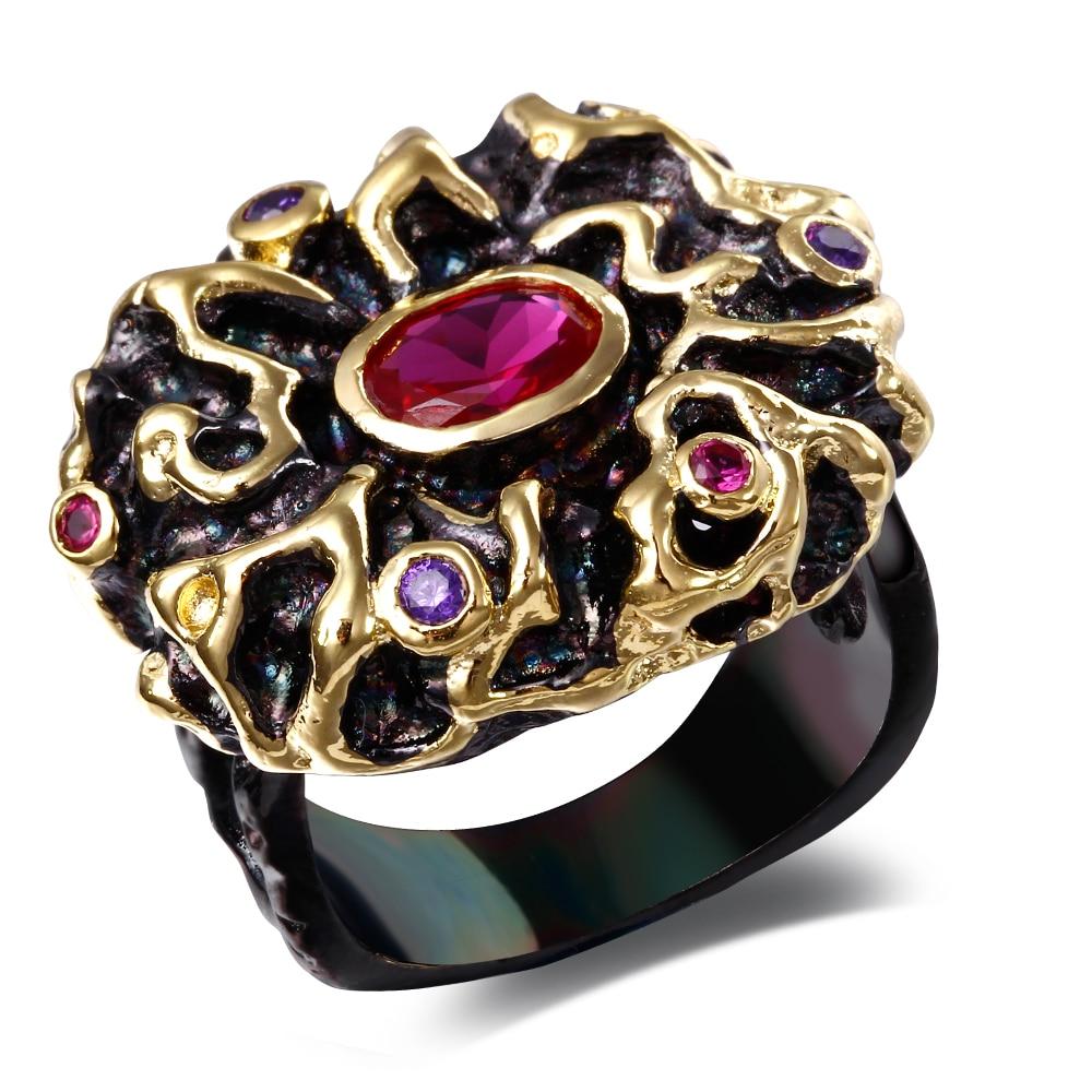 Кольца для женщин черный медное кольцо w/фианит камень уникальный дизайнера модные ювелирные магазины Турции Бесплатная отправка