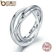 BAMOER 925 Sterling Silver Circle Droplets Stackable Swirling Symmetry Clear CZ Finger Ring For Women Engagement