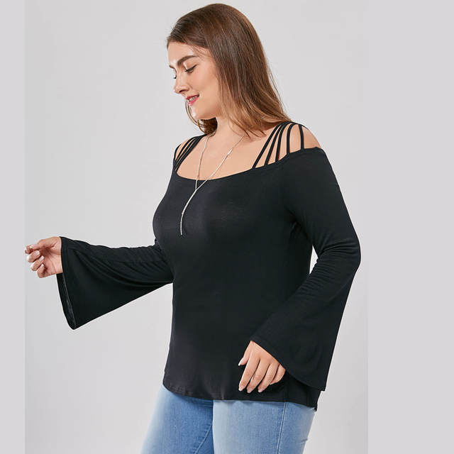 Large size Plus Size FlareSleeve Slash Neck Cotton T-Shirts 2017 Ladies Womens Lagenlook Siold Color Casual Loose Tops NEW Tee 3