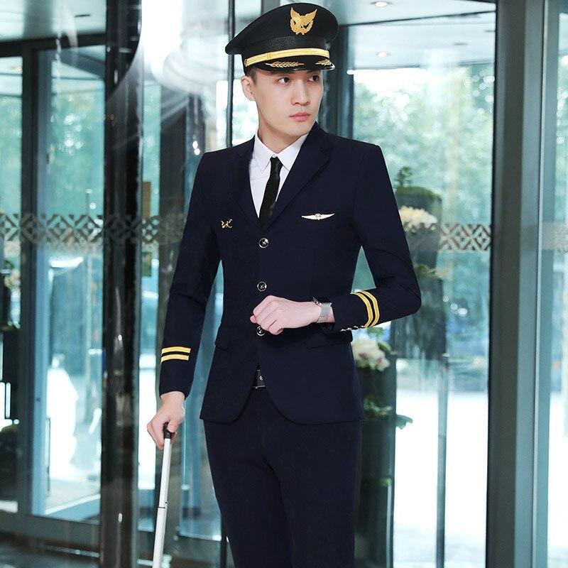 Men's Suit Set Four Seasons Wear куртка мужскаяEmpty Less High-Speed Rail Flight Attendant Uniform KTV Hotel Master Security