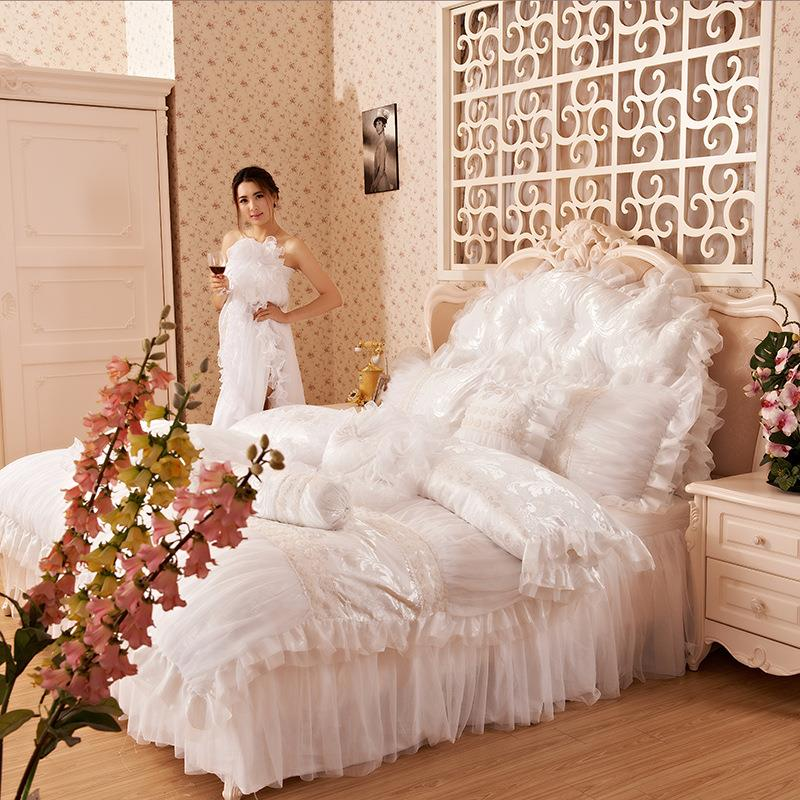 White/Pink/Purple Duvet Cover Bed skirt pillowcas ,Luxury Princess Lace Ruffle queen King size Ruffle wedding 4pcs set