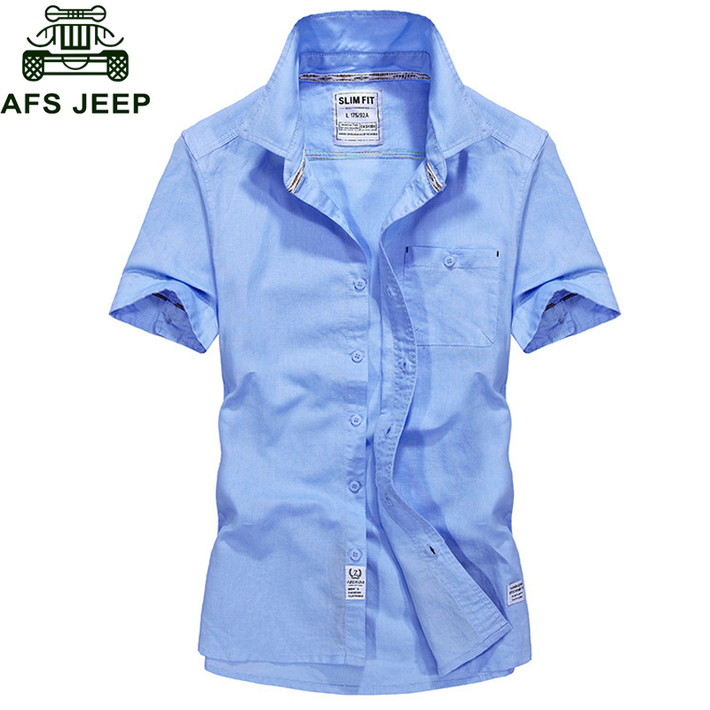 AFS JEEP Summer Solid Military Short Sleeve Shirt Men Cotton Breathable Mens shirts Casual Slim Fit Camisa masculina Plus Size