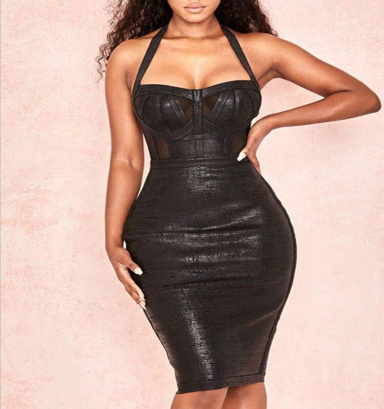 2019 New Hot black women bodycon bandage dress black halter evening club short dresses vestido sexy