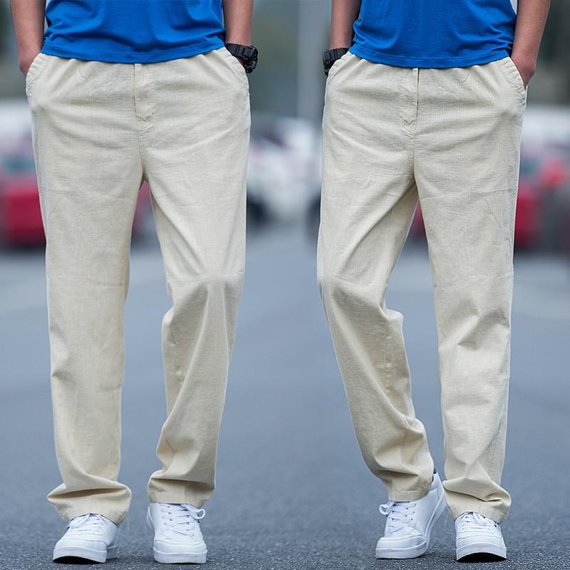 Big Men Cotton Linen Straight Pants Plus Size L 4xl 5xl