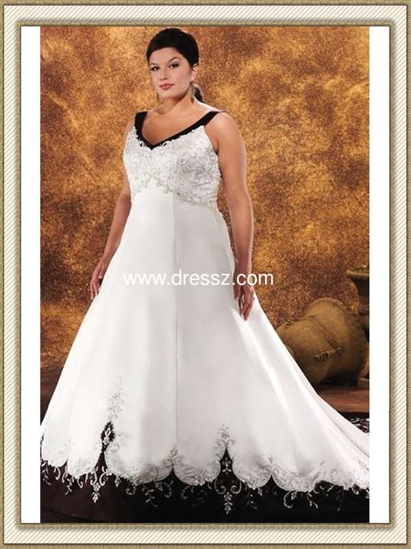 Custom made top quality v neck sleeveless gothic black and for Black and white plus size wedding dresses