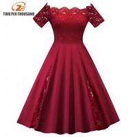 4XL 5XL Plus Size Women S Clothing Elegant Summer Off Shoulder Lace A Line 1950s Vintage