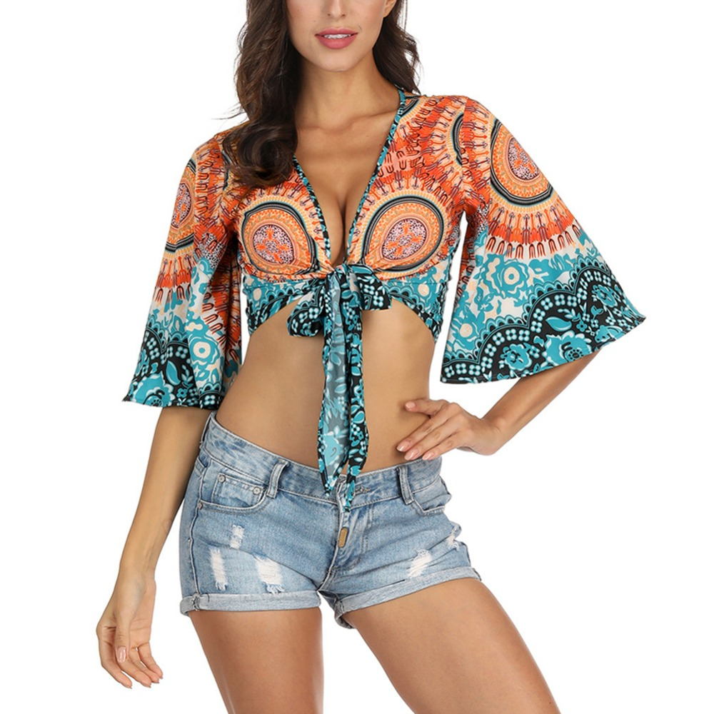 Womens Ethnic Style Printing Beach Sunscreen Clothing Trumpet Sleeves Shirt Ladies Sun Protection Loose Lace Beach Wear Top New