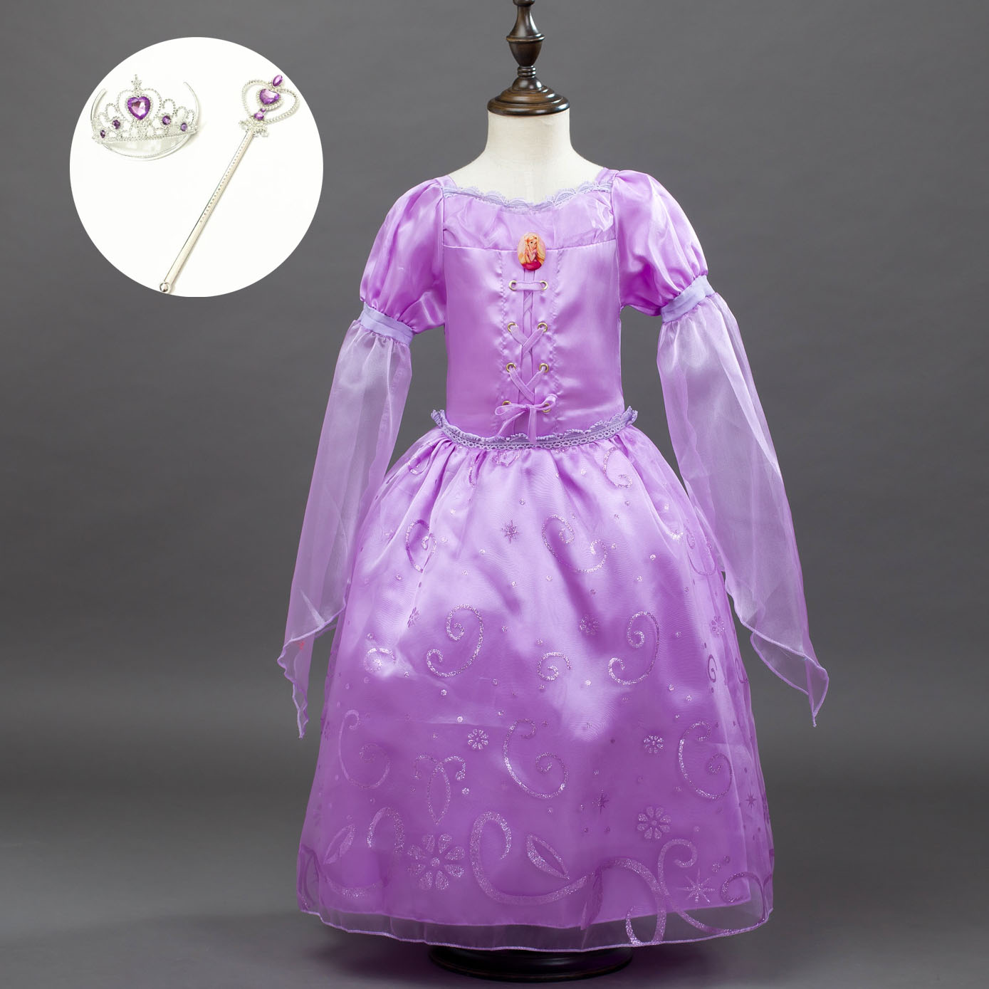 Fashion 3/4 Flare Sleeve Toddler Baby Girls Party Wear Kids Dress Halloween Carnival Princess Birthday Tangled Rapunzel Costume
