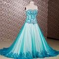 Rse655 Vestidos 15 Anos дебютантка платья бирюзовый пышное платье