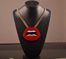 hot deal buy fashion punk choker chain big acrylic sexy red lips necklace for women night club jewelry accessories