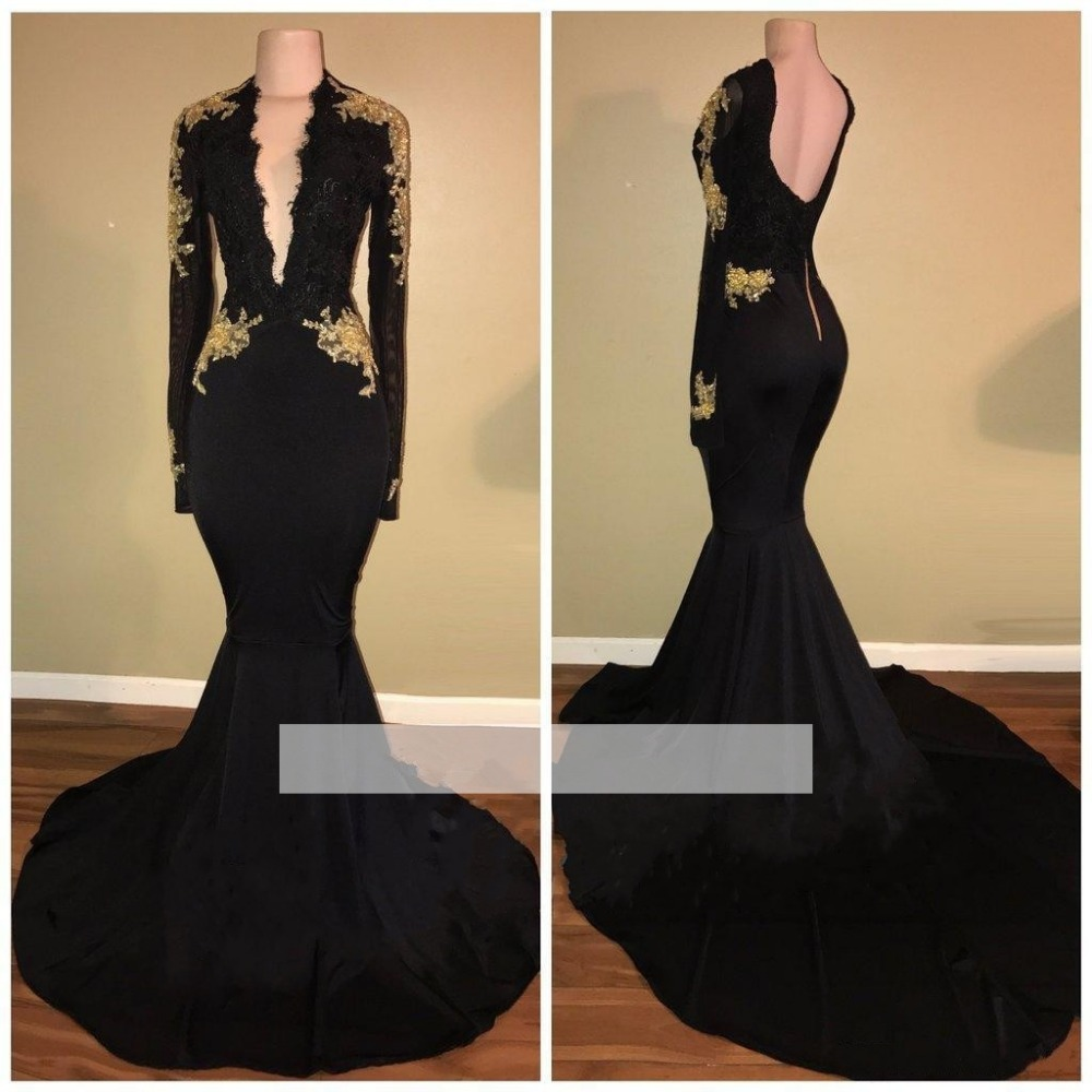 Black 2019   Prom     Dresses   Mermaid Deep V-neck Appliques Lace Backless Party Maxys Long   Prom   Gown Evening   Dresses   Robe De Soiree