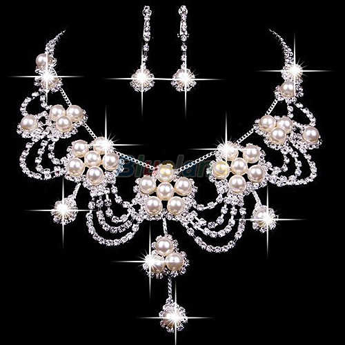 Sliver Plated Rhinestone Crystal Faux Pearl Necklace + Earring Sieraden Set Voor Bruid Bridal Wedding A7UR