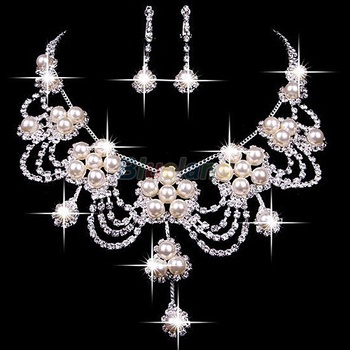 2020 New fashion Sliver Plated Rhinestone Crystal Faux Pearl Necklace+Earring Jewelry Set For Bride Bridal Wedding A7UR