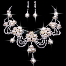 Sliver Plated Rhinestone Crystal Faux Pearl Necklace+Earring