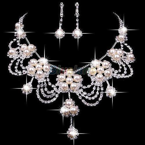 Sliver chapeado strass cristal falso pérola colar + brinco conjunto de jóias para o casamento nupcial da noiva a7ur