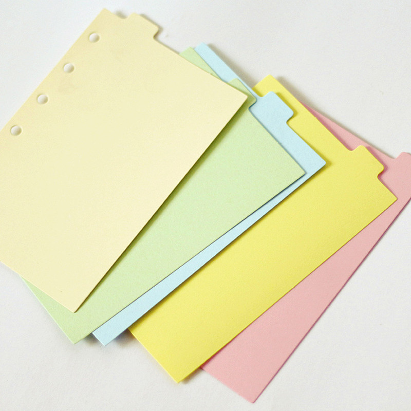 5pcs/set A7 Colored Binder Index Dividers Planner Dividers For Loose Shell Notebook Standard 6 Holes School Supplies Stationery
