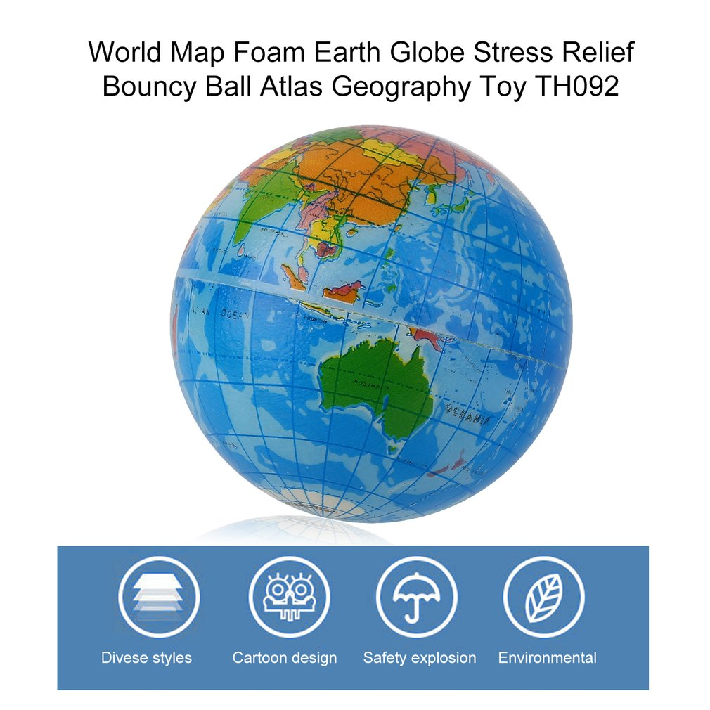 Mini blue world map foam earth globe stress relief bouncy ball 1 x world map foam earth globe stress relief bouncy ball sciox Images