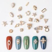 2 шт., кристальная подвеска на цепочке в форме капли воды, очаровательные украшения для ногтей, 24 типа, роскошные циркониевые Хрустальные Стразы для ногтей