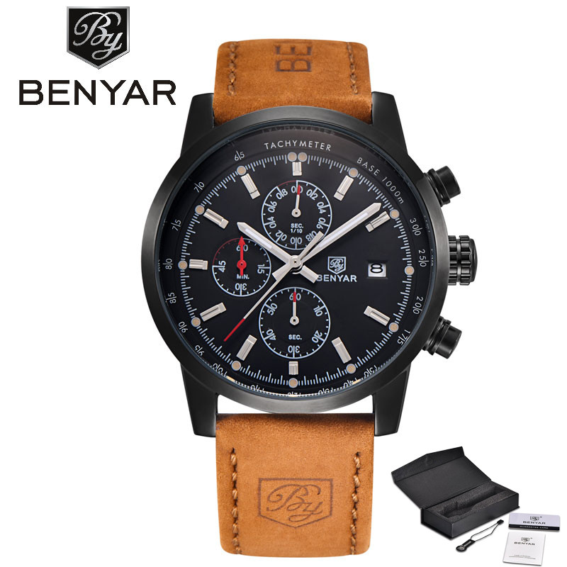 Hot Selling BENYAR Luxury Relogio Men Watch Chronograph Date Design Dial Genuine Leather Band Reloj Hombre Cost-effective Gift forsining luxury mmechanical men wristwatch genuine leathe band unique design dial cost effective male casual fashion watch