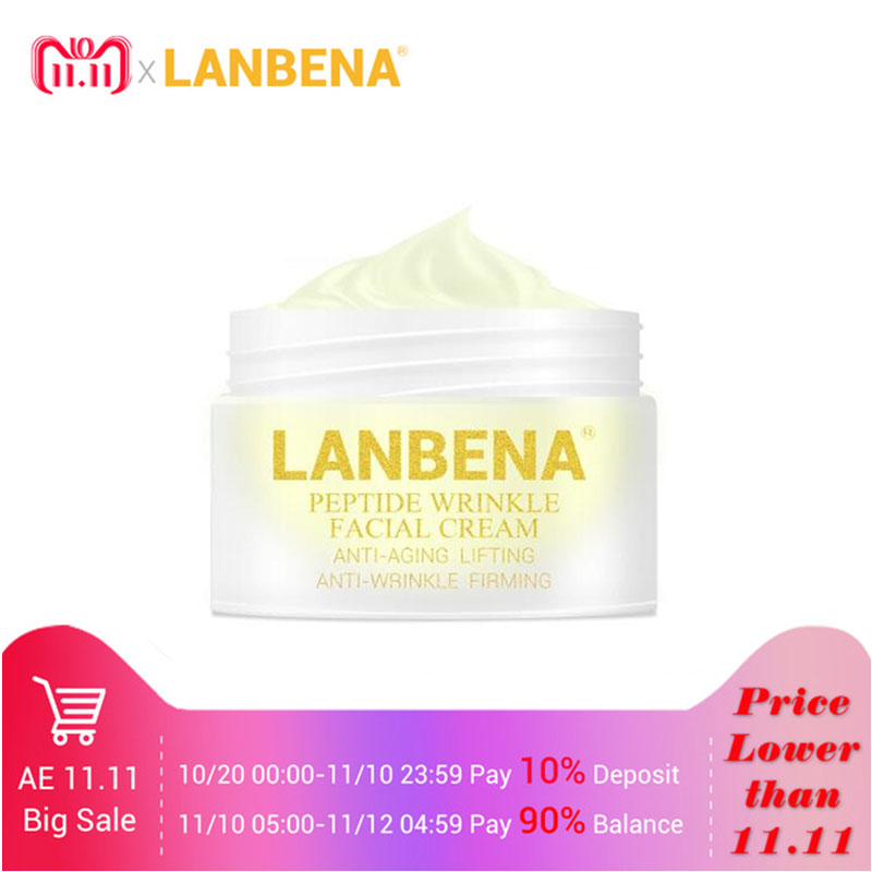 LANBENA Peptide Anti Wrinkle Facial Cream Anti Aging Skin Whitening Lifting Firming Acne Treatment Hyaluronic Acid Snail Cream 2pcs car cob leds daytime running bright light drl waterproof fog lamp u shape