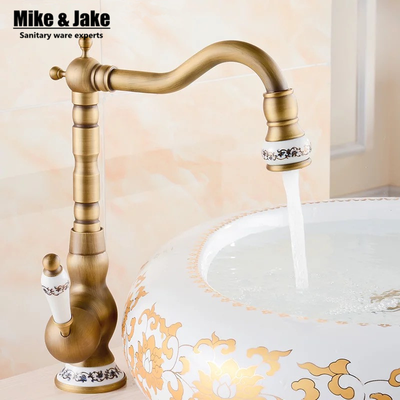2017 Bathroom Antique Tap Basin Faucet Vintage Kitchen Sink Tap Brass Tap Torneira Banheiro
