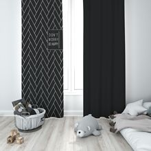Fashion simple Black and white letters curtain High shading polyester Small window custom made rings top