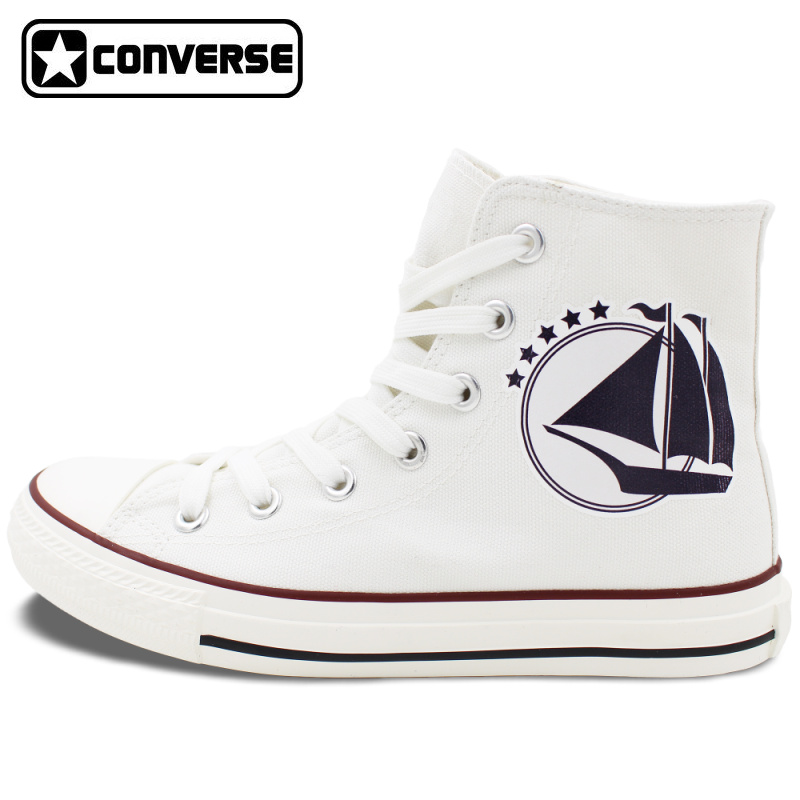 Prix pour Blanc Converse All Star pour Hommes Femmes Chaussures Conception Voile Helm Anchor Voyage Aventures High Top Toile Sneakers