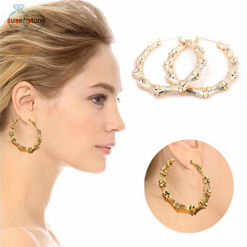 SUSENSTONE 2017 New Fashion 1Pair Fashion Punk Gold Tone Bamboo Big Hoop Large Alloy Circle Earrings