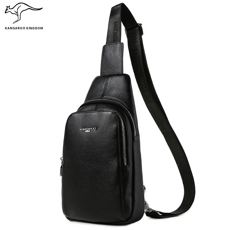 KANGAROO KINGDOM fashion genuine leather men bag casual one shoulder crossbody messenger bags chest bag цена и фото