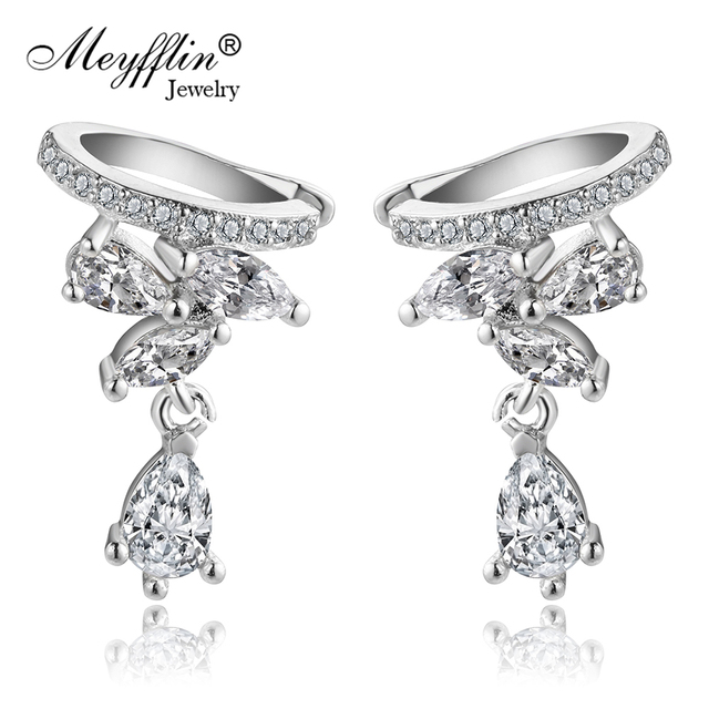 Meyfflin Cubic Zirconia Earrings Female Fashion Silver Color Crystal Leaf Clip Ear Cuff For Women