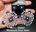 В западном Стиле, Роскошные Преувеличены Дизайн ААА Цирконий Синий Камень Большой Полые Цветок Форма Серьги Для Женщин
