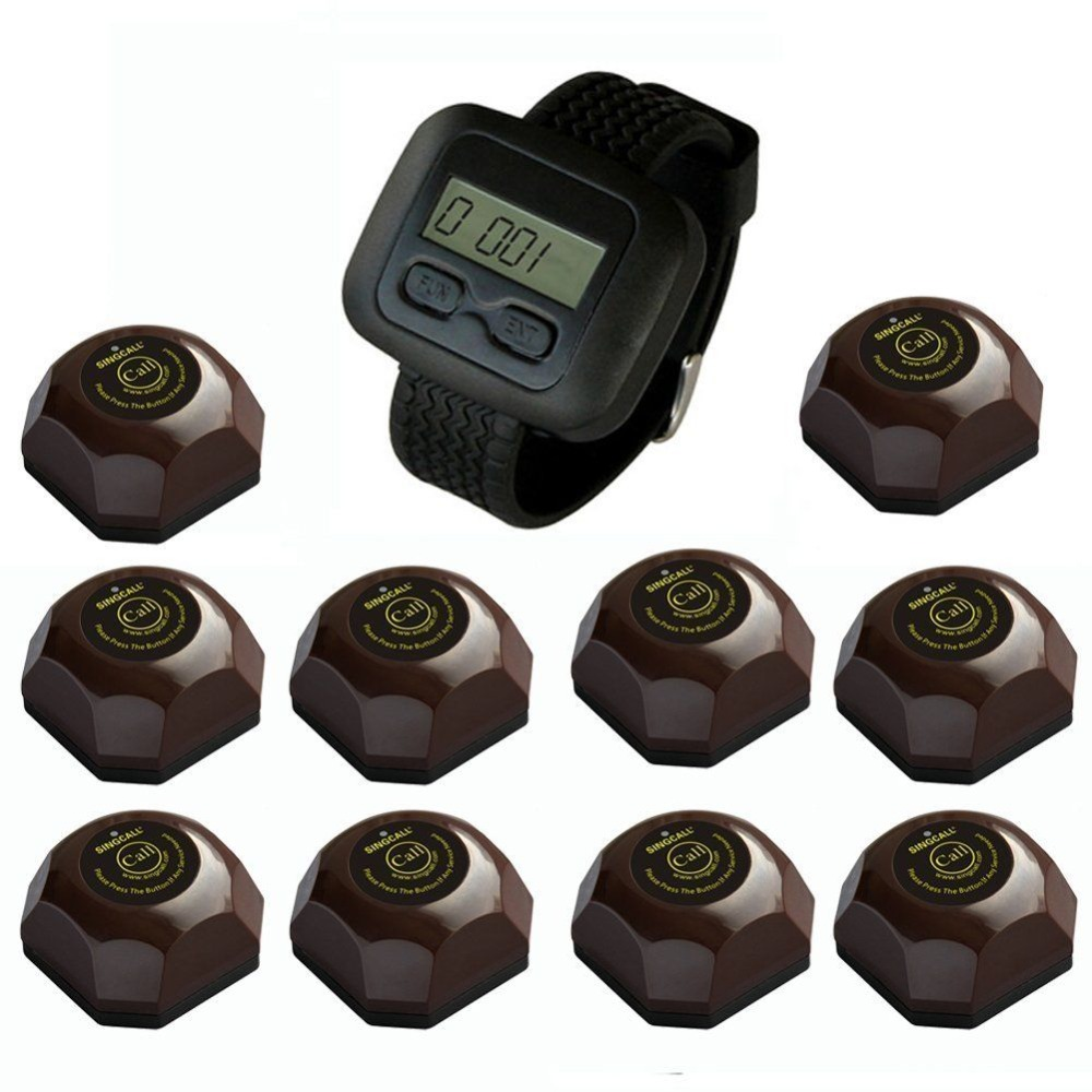 SINGCALL wireless call bell system,vibrating restaurant pagers,10 pcs coffee buttons and one wrist watch for waiter wireless waiter call system top sales restaurant service 433 92mhz service bell for a restaurant ce 1 watch 10 call button