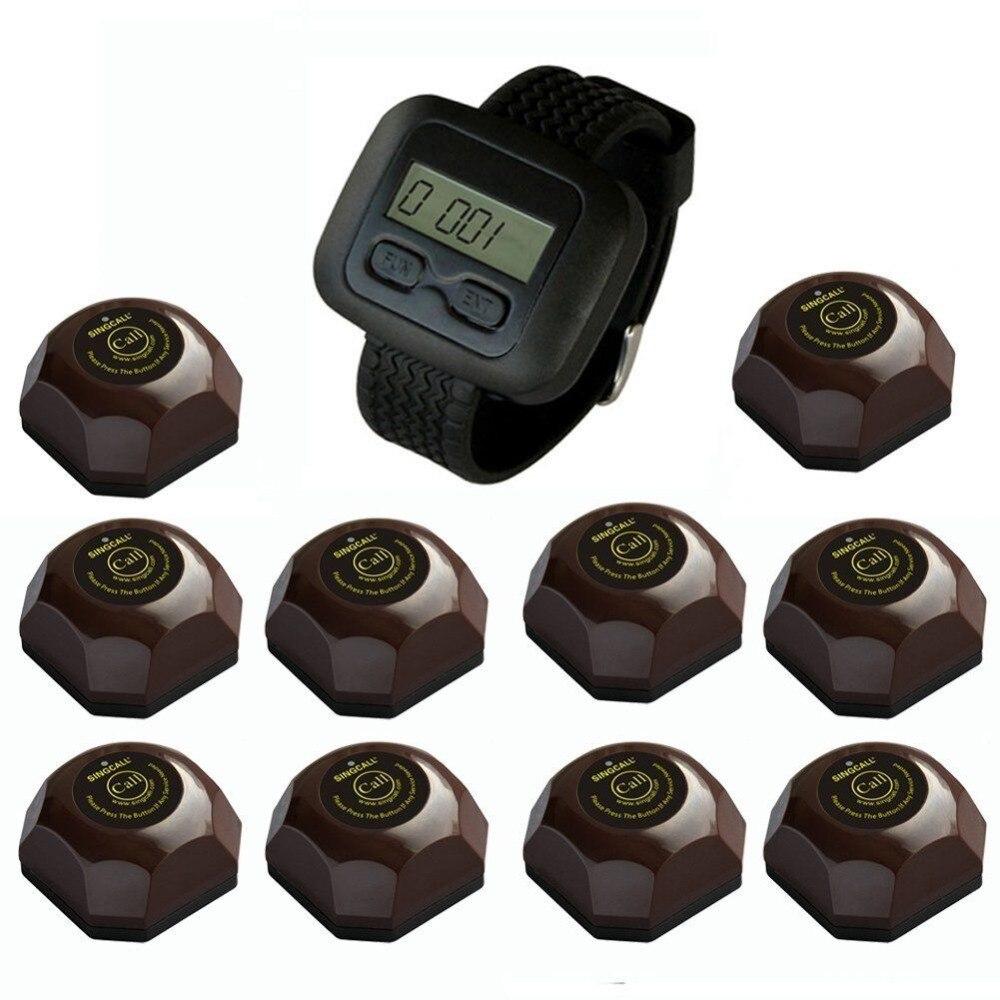 Système de sonnerie d'appel sans fil SINGCALL, téléavertisseurs de restaurant vibrants, boutons de café 10 pièces et montre-bracelet pour serveur