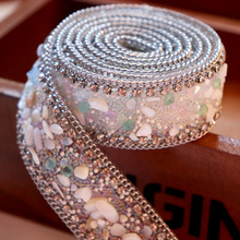 White Fake Pearl Vintage Beaded Lace Trim Ribbon Iron On Fabric Paillette Bridal Sew Braid DIY Applique