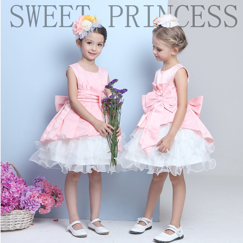 2~7 years old Children 2016 summer new baby girls dress Bow Lace Prom Dress baby girl clothes dresses for girls GD04CX