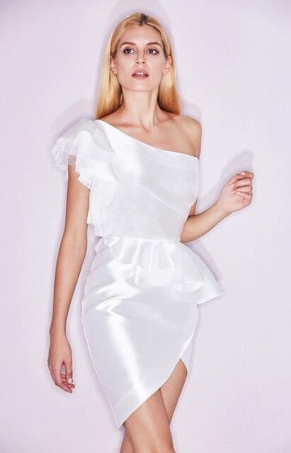 c358dafbade One-Shoulder Asymmetrical Short Prom Dress Pleat Lace Ruffles Side Slit  Cocktail Dresses 18072