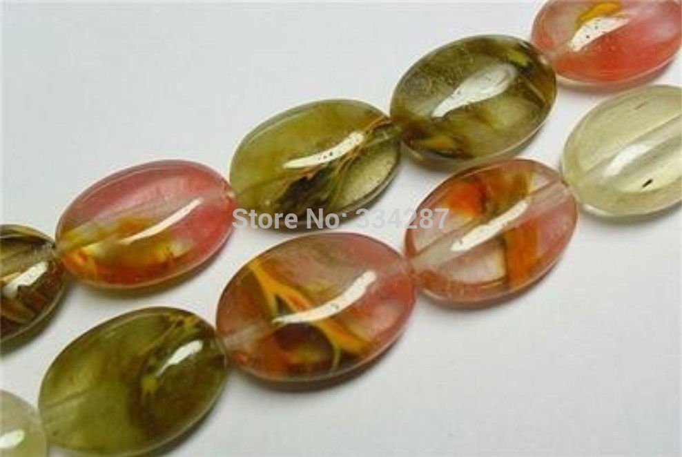 Hot sell Noble- FREE SHIPPING>>>@@ 13x18mm <font><b>Watermelon</b></font> <font><b>Tourmaline</b></font> Gem Oval Loose Beads 15
