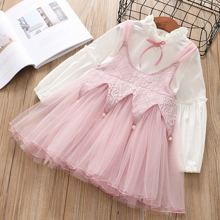 2018 new spring autumn children clothing set puff sleeve blouse+lace dress baby girl clothes suit conjunto infantil girls outfit
